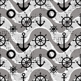 Vector seamless pattern Steering wheel, life preserver, anchor, waves Creative geometric vintage backgrounds, nautical theme Graph. Ic illustration with Stock Photography