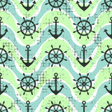 Vector seamless pattern Steering wheel, life preserver, anchor, waves Creative geometric vintage backgrounds, nautical theme Graph. Ic illustration with Royalty Free Stock Images