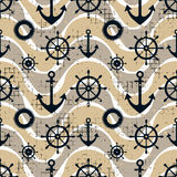 Vector seamless pattern Steering wheel, life preserver, anchor, waves Creative geometric vintage backgrounds, nautical theme Graph. Ic illustration with Stock Images
