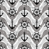 Vector seamless pattern Steering wheel, life preserver, anchor, waves Creative geometric vintage backgrounds, nautical theme Graph. Ic illustration with Royalty Free Stock Image