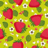 Vector seamless pattern with strawberries. Graphic stylized drawing. Royalty Free Stock Photo