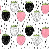 Vector seamless pattern with strawberries. Scandinavian motives. Drawing by hand. Cute print. Vector seamless pattern with strawberries. Scandinavian motives vector illustration