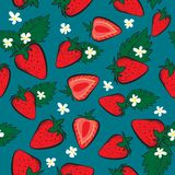Vector seamless pattern with Strawberries. And leaves. Perfect for fabric, textile, wrapping paper and other decoration, Vector illustration Stock Photos