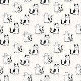 Vector seamless pattern with striped cats. Stock Images