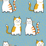 Vector seamless pattern with striped cats. Royalty Free Stock Photo