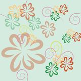 Vector seamless pattern from stylized flowers and spirals in pastel colors on a light background vector illustration
