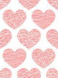 Vector seamless pattern from stylized pink hearts. Background for Valentine day stock illustration