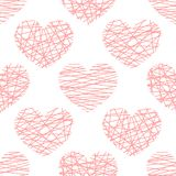 Vector seamless pattern from stylized pink hearts. Background for Valentine day royalty free illustration