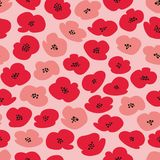 Vector seamless pattern with stylized poppies Royalty Free Stock Photos