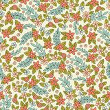 Vector seamless pattern with stylized small flowers. Decorative background Royalty Free Stock Photo