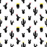 Vector seamless pattern with succulent cactus. Royalty Free Stock Photo