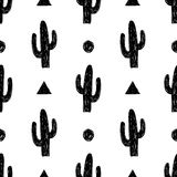 Vector seamless pattern with succulent cactus. Stock Photo