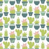 Vector seamless pattern with succulent plants and cactuses in po Stock Photos