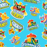 Vector seamless pattern of summer games on inflatable playground Stock Photo