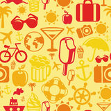 Vector seamless pattern with summer icons Royalty Free Stock Image