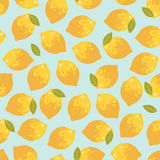 Vector seamless pattern with summer lemons. Stock Photography