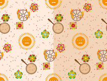 Vector seamless pattern with sun, flowers, pancakes and burning wheel. Royalty Free Stock Photos