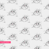 Vector seamless pattern, surprised cute cats, kittens head, tile, trendy print on the fabric background is for the album. Notebook Stock Photo