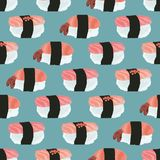 Vector seamless pattern of sushi with with tuna, salmon, shrimp vector illustration
