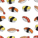 Vector seamless pattern of Sushi royalty free illustration