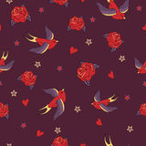 Vector seamless pattern with swallows, roses, hearts and stars Royalty Free Stock Photos