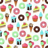 Vector seamless pattern of sweets dessert on white background. Vector seamless pattern of color sweets dessert on white background Stock Images