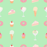 Vector seamless pattern with sweets: ice cream, cake, pie and donut on background. Stock Photos
