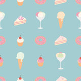 Vector seamless pattern with sweets: ice cream, cake, pie and donut. Set of dessert. Royalty Free Stock Image