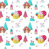 Vector seamless pattern with yummy sweet candies royalty free illustration