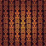 Vector seamless pattern with swirls and floral motifs in retro style. Golden scroll work background. It can be used for wallpaper, pattern fills, web page Royalty Free Stock Photos