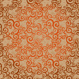 Vector seamless pattern with swirls motifs. Vector seamless pattern with swirls motifs in retro style. Golden scroll work background. Endless east style Royalty Free Stock Images