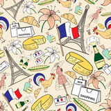 Vector seamless pattern with symbols of France. Vector seamless pattern. Endless background with symbols of France for use in design, wallpaper, fabrics Royalty Free Stock Image