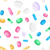Vector seamless pattern tablets and pills on a white background Stock Photography