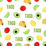 Seampless taco pattern royalty free illustration