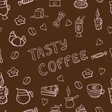 Vector seamless pattern of tasty coffee hand drawn Stock Photo