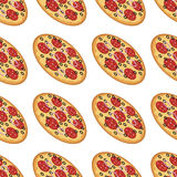 Vector seamless pattern with with tasty pizza. Pattern seamless vector illustration. Concept background picture Royalty Free Stock Photos