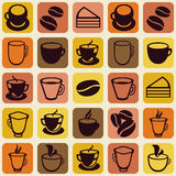 Vector seamless pattern with tea and coffee cups Royalty Free Stock Photos