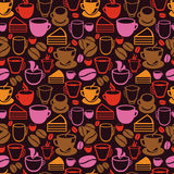 Vector seamless pattern with tea and coffee cups. Background in vintage style Stock Photos