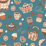 Vector seamless pattern with tea elements. On the blue background Royalty Free Stock Photo