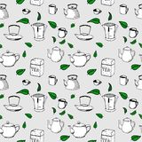 Vector seamless pattern - tea, kettle, cup. Vector hand drawn seamless pattern - tea, kettle, cup elements for your design Royalty Free Stock Image