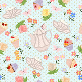 Vector seamless pattern with tea, roses, daisies, butterflies. Royalty Free Stock Image