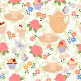 Vector seamless pattern with tea, roses, daisies, butterflies. Royalty Free Stock Photos
