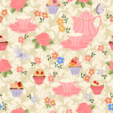 Vector seamless pattern with tea, roses, daisies, butterflies. Royalty Free Stock Photography