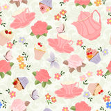 Vector seamless pattern with tea, roses, daisies, butterflies. Stock Photography