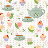 Vector seamless pattern with tea, roses, daisies, butterflies. Royalty Free Stock Images