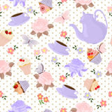 Vector seamless pattern with tea, roses, daisies, butterflies. stock illustration