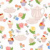 Vector seamless pattern with tea, roses, daisies, butterflies. Stock Image