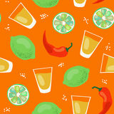 Vector seamless pattern with tequila. Tequila pattern, vector seamless pattern with alcohol in shots, limes and chili peppers Stock Photos