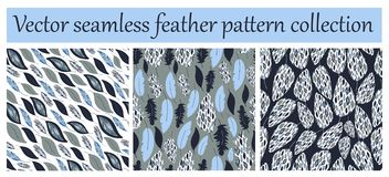 Vector seamless pattern or texture collection,set. Feather prints. royalty free illustration