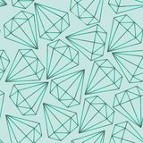 Vector seamless pattern, texture with crystals, diamonds, gems on the turquoise background.. Contours. royalty free illustration
